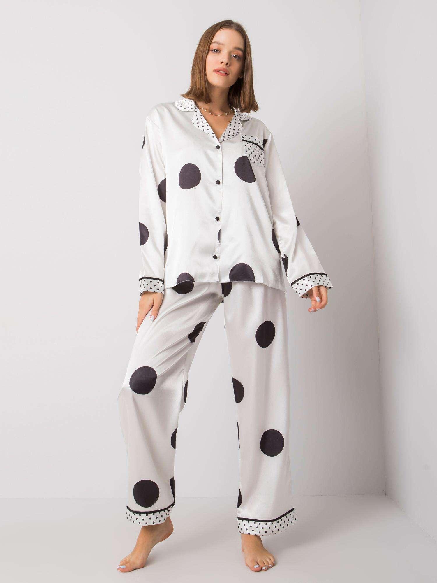 Dámské bílé pyžamo s kalhotami