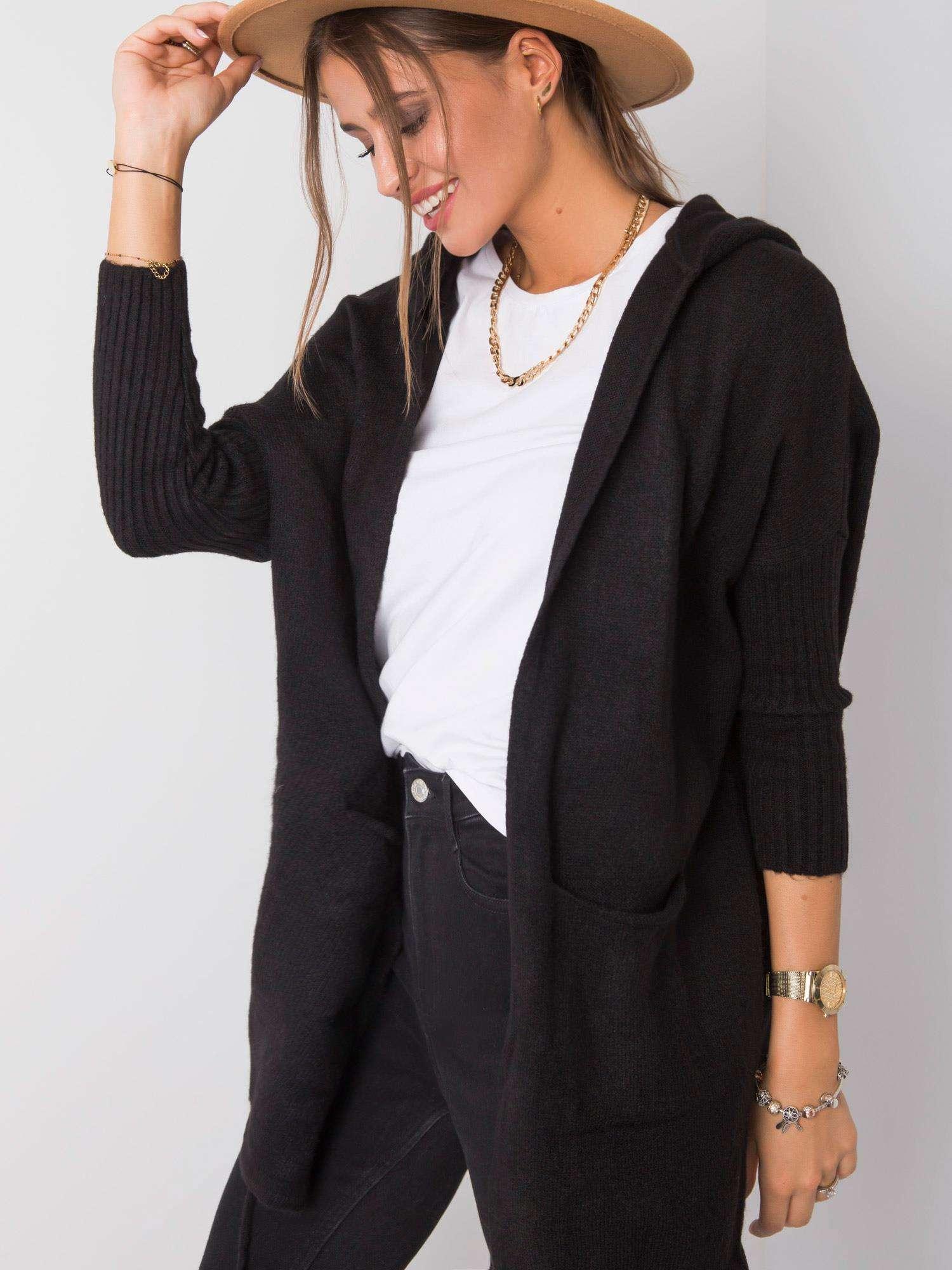 RUE PARIS Černý svetr s kapucí