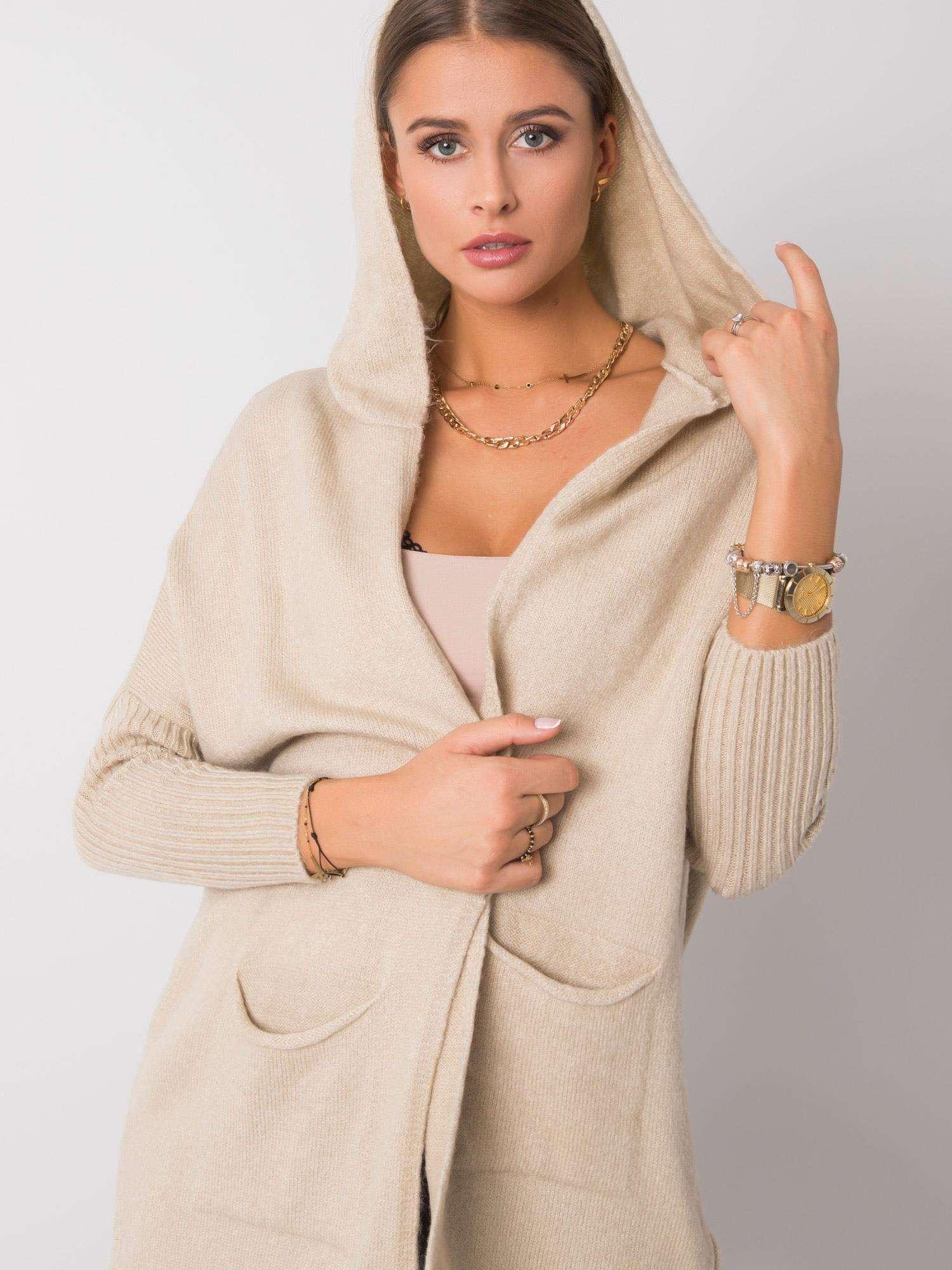 RUE PARIS Béžový svetr s kapucí