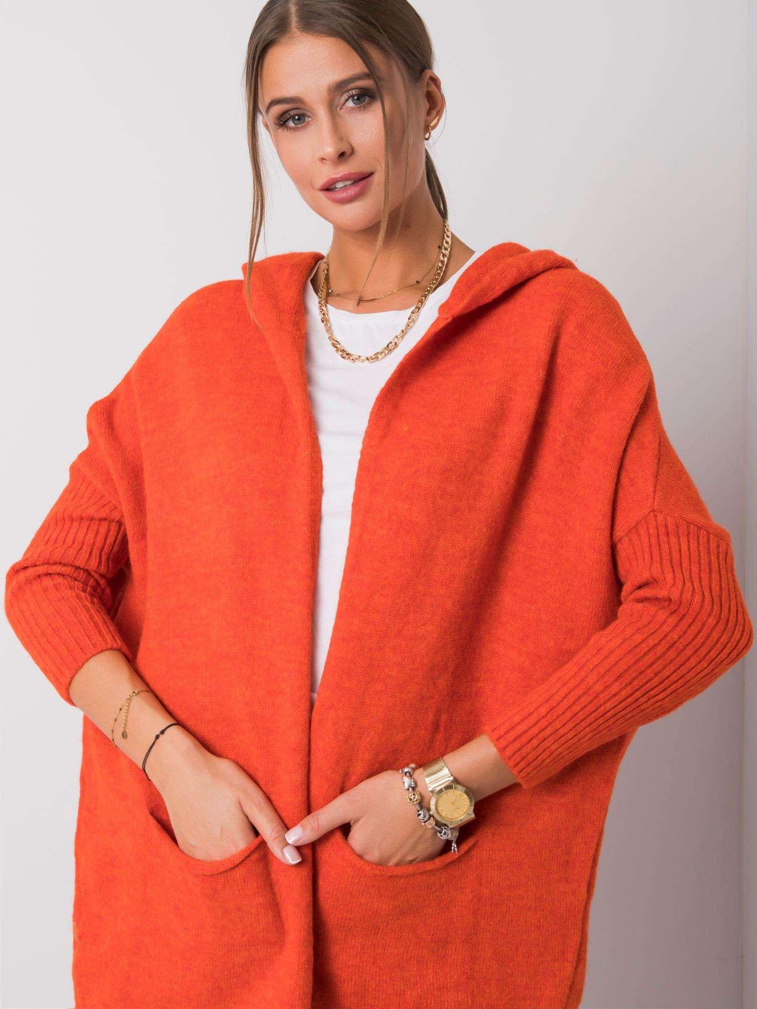 RUE PARIS Tmavý korálový svetr s kapucí