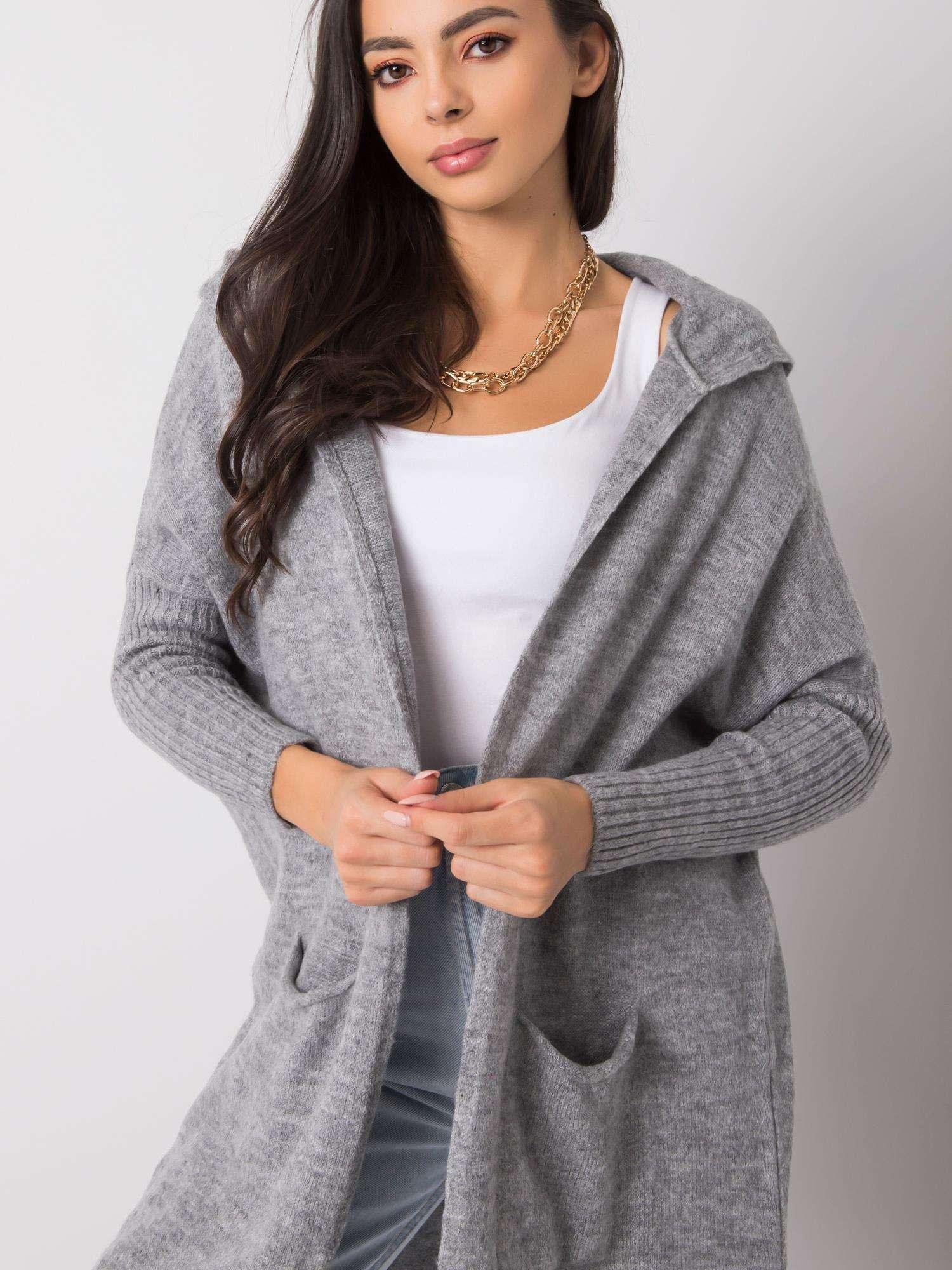RUE PARIS Šedý svetr s kapucí