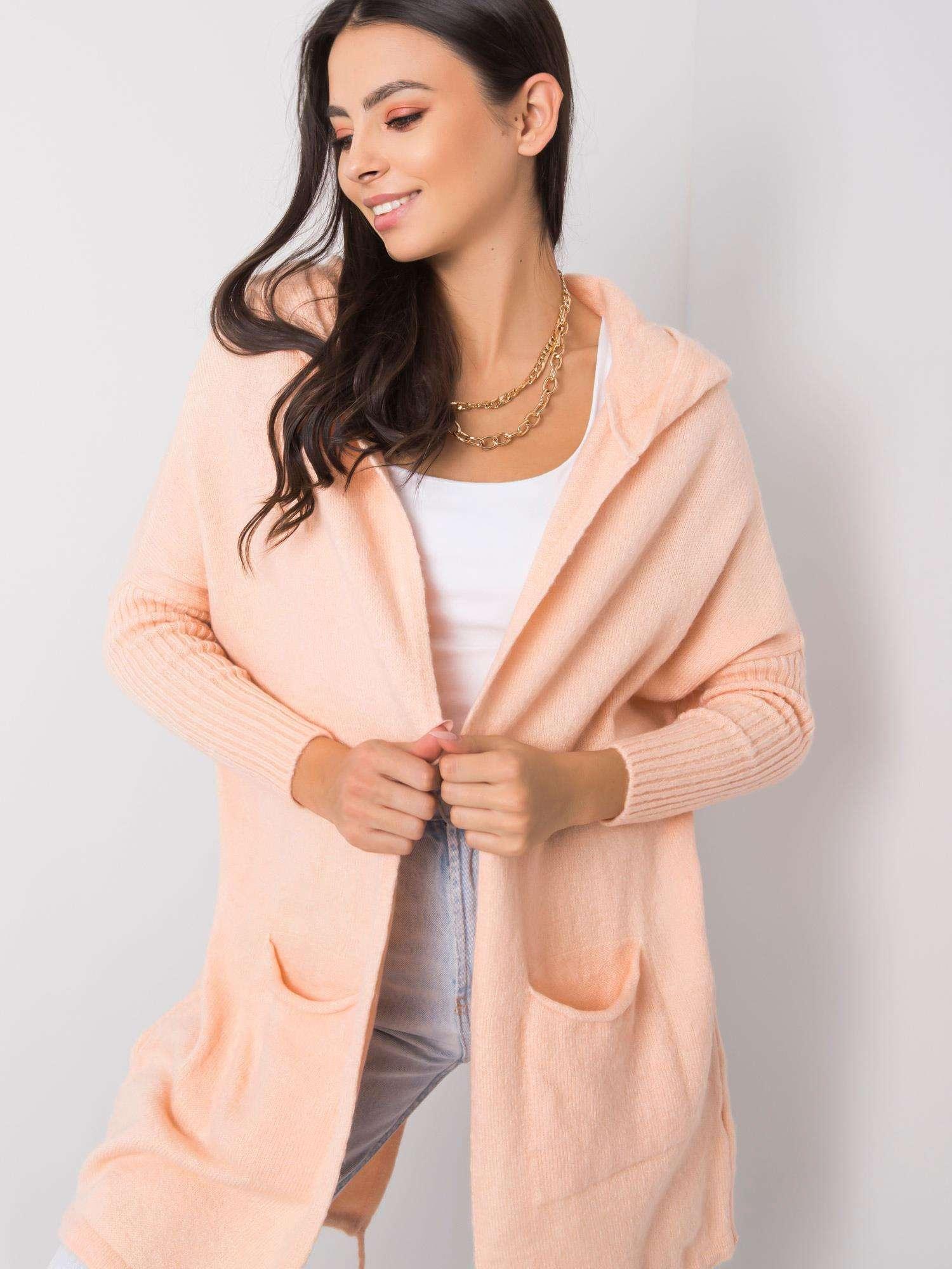 RUE PARIS Lehký broskvový svetr s kapucí