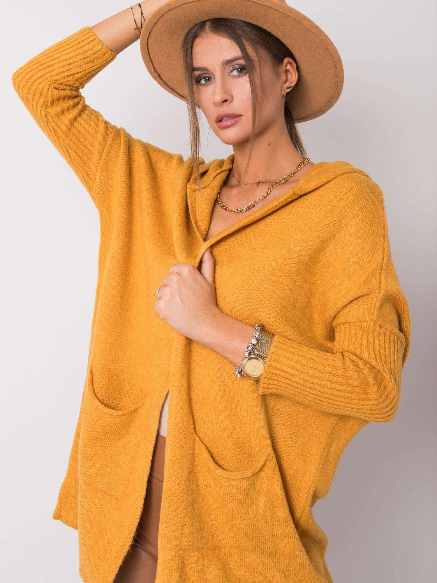 RUE PARIS Hořčičný svetr s kapucí
