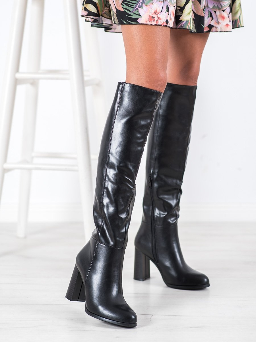 Luxusní  kozačky černé dámské na širokém podpatku