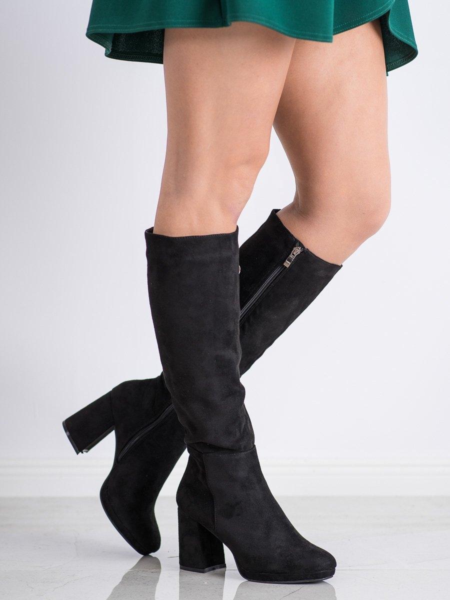 Designové dámské černé  kozačky na širokém podpatku
