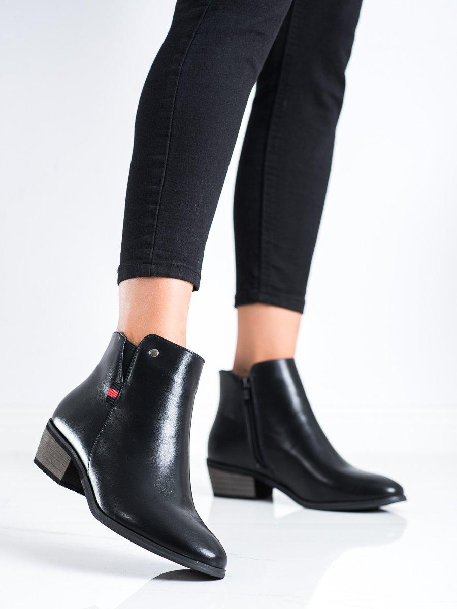 Originální  kotníčkové boty dámské černé na širokém podpatku