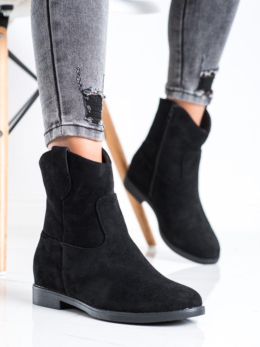 Luxusní  kotníčkové boty dámské černé na klínku