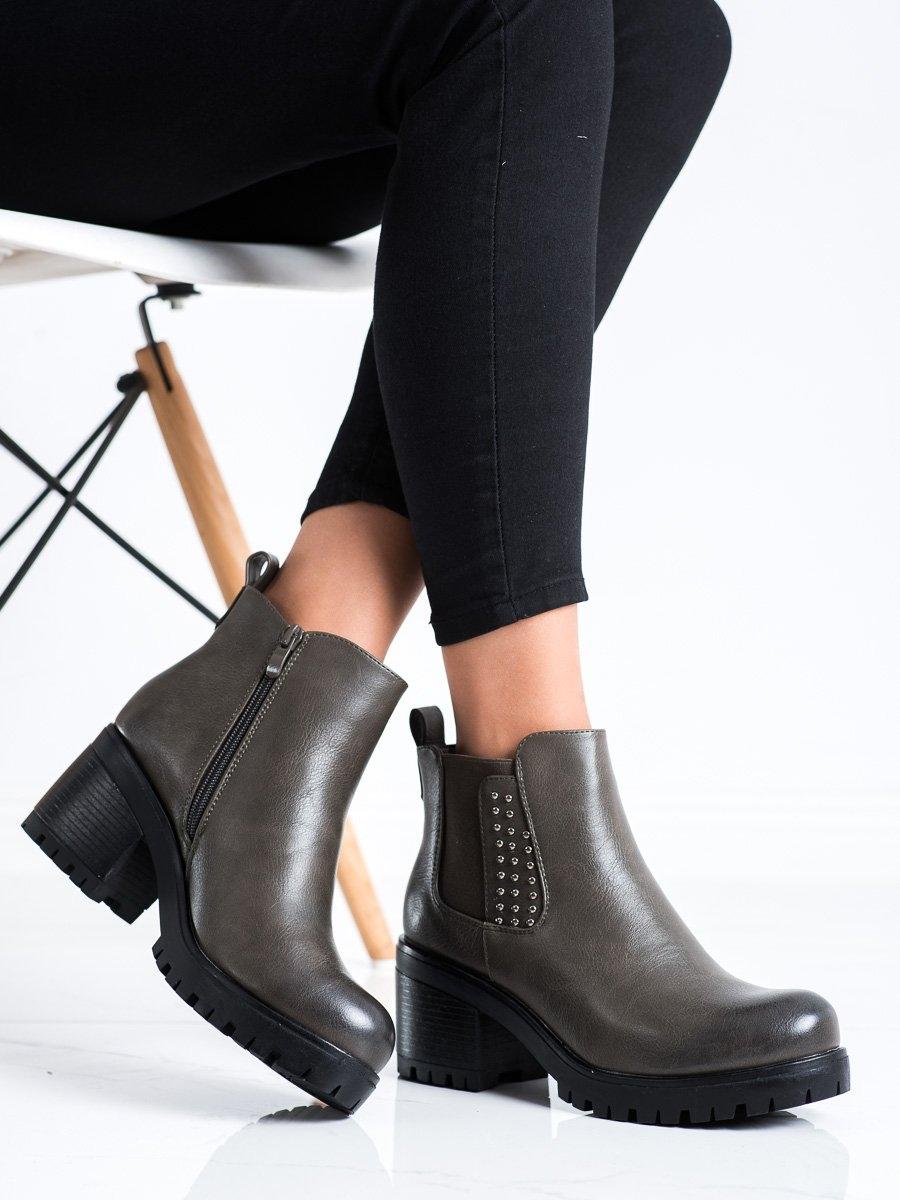 Moderní zelené  kotníčkové boty dámské na širokém podpatku