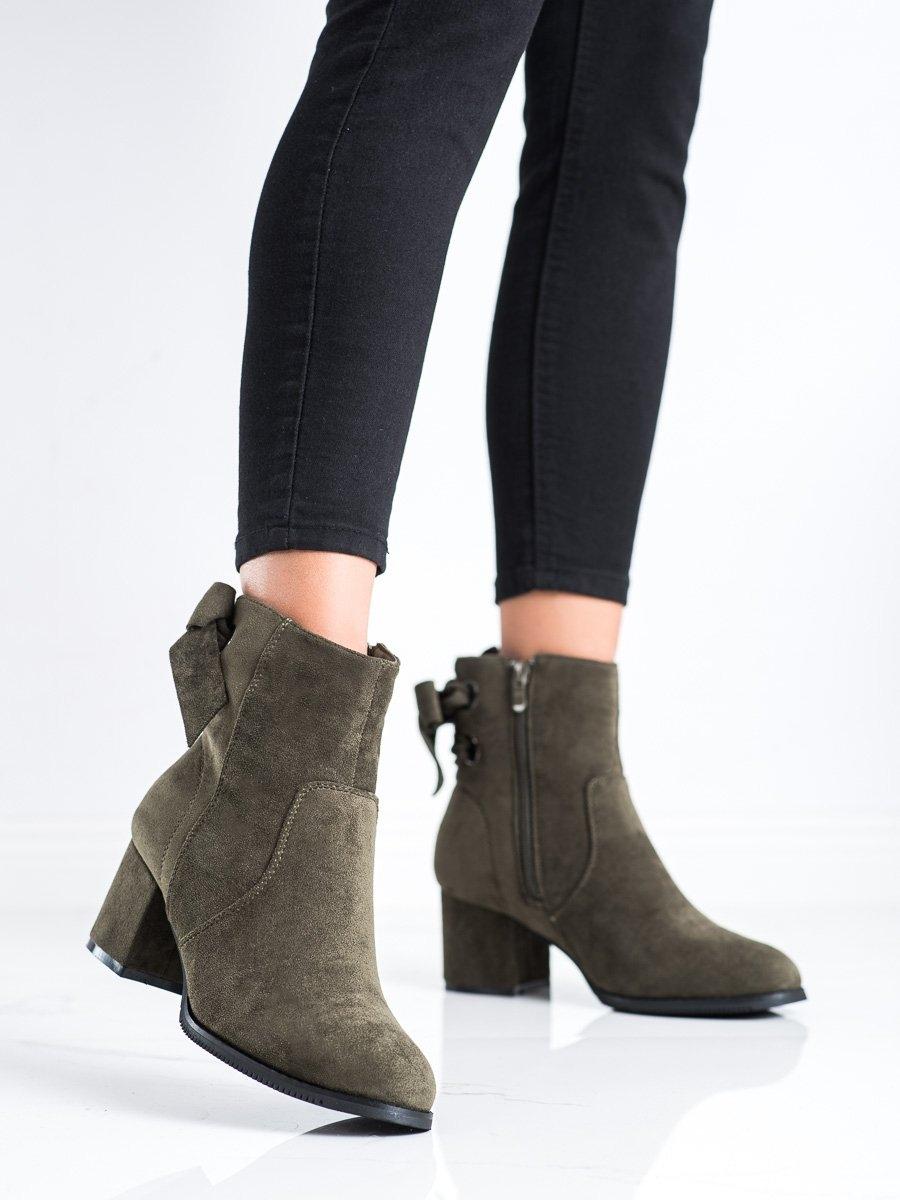 Výborné  kotníčkové boty dámské zelené na širokém podpatku