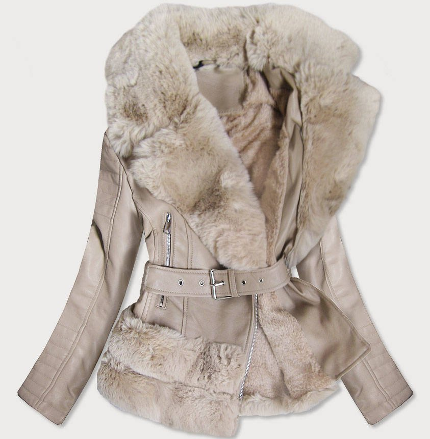 Béžová koženková bunda s kožíškem (0580)