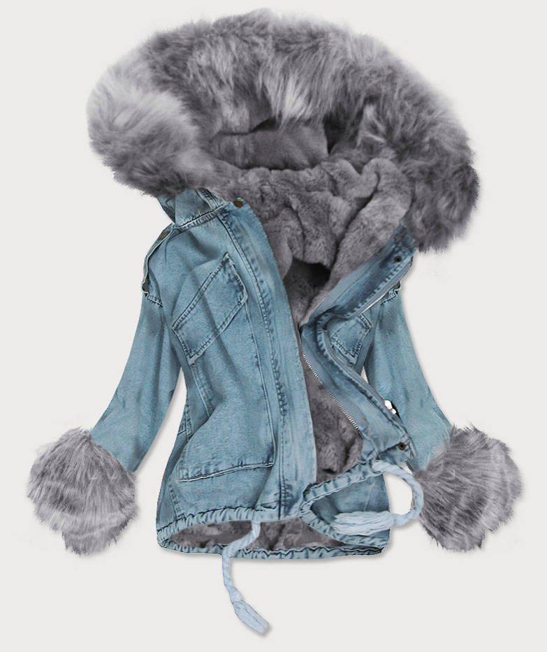Modro-šedá dámská džínová bunda s vsadkou (T2866)
