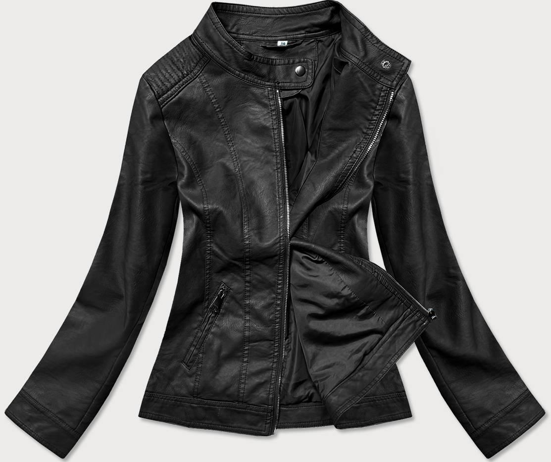 Černá dámská koženková bunda (GV90-01)