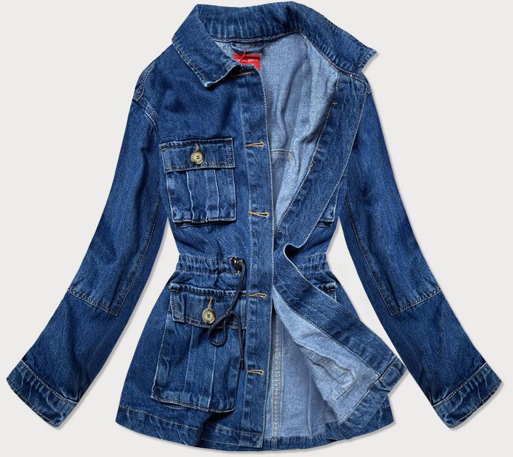 Světle modrá dámská džínová bunda s kapsami (350-4)