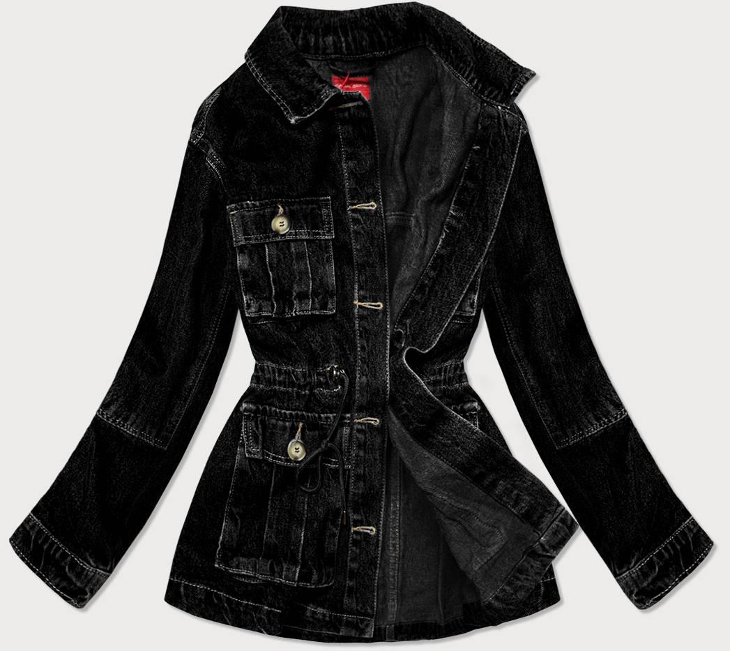 Černá dámská džínová bunda s kapsami (350-4)