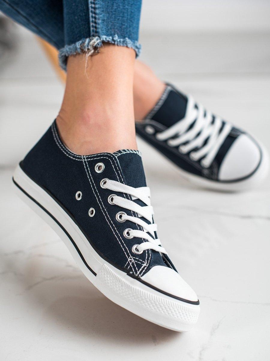 Komfortní dámské modré  tenisky bez podpatku