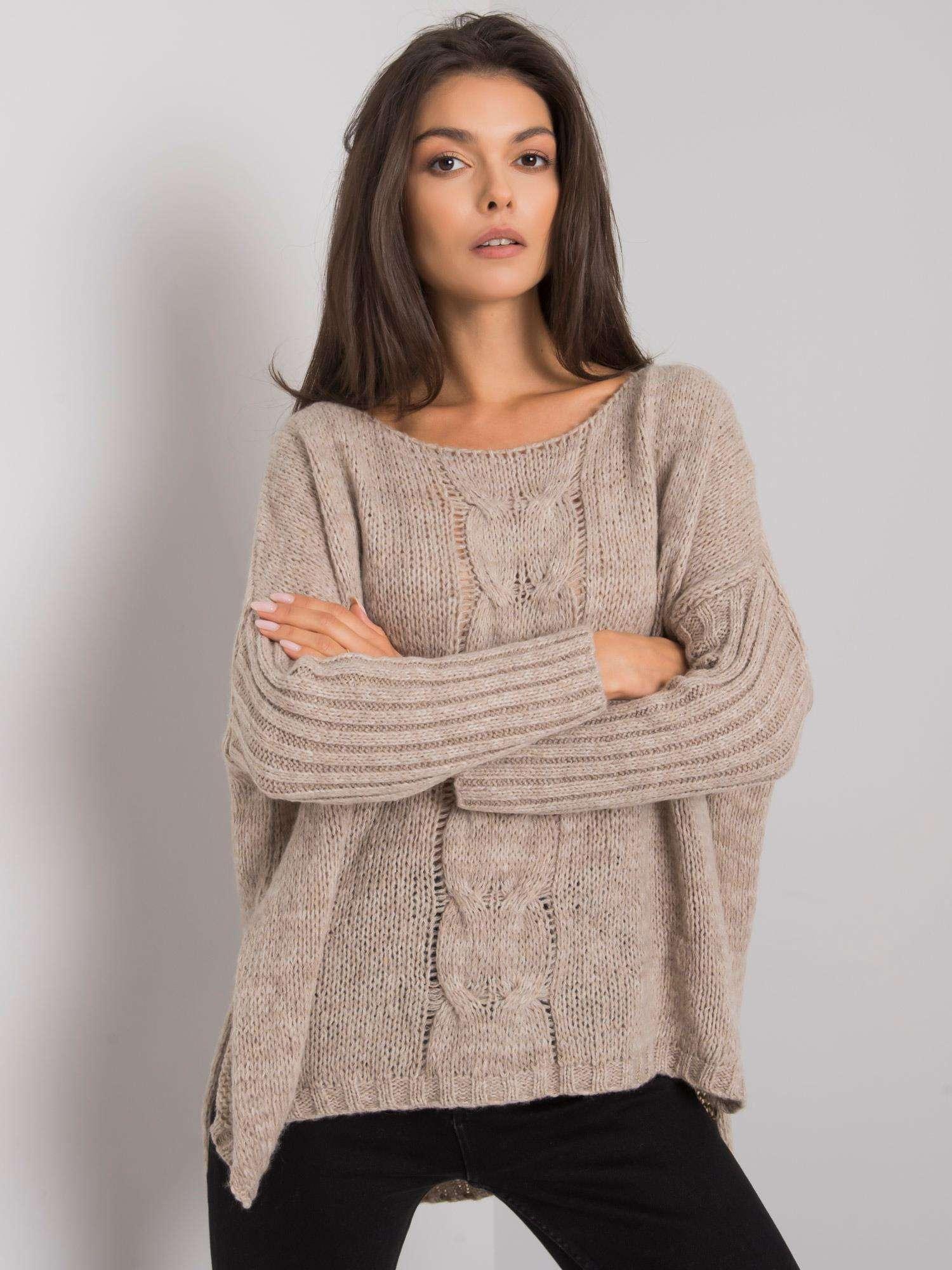 OCH BELLA Béžový oversize svetr