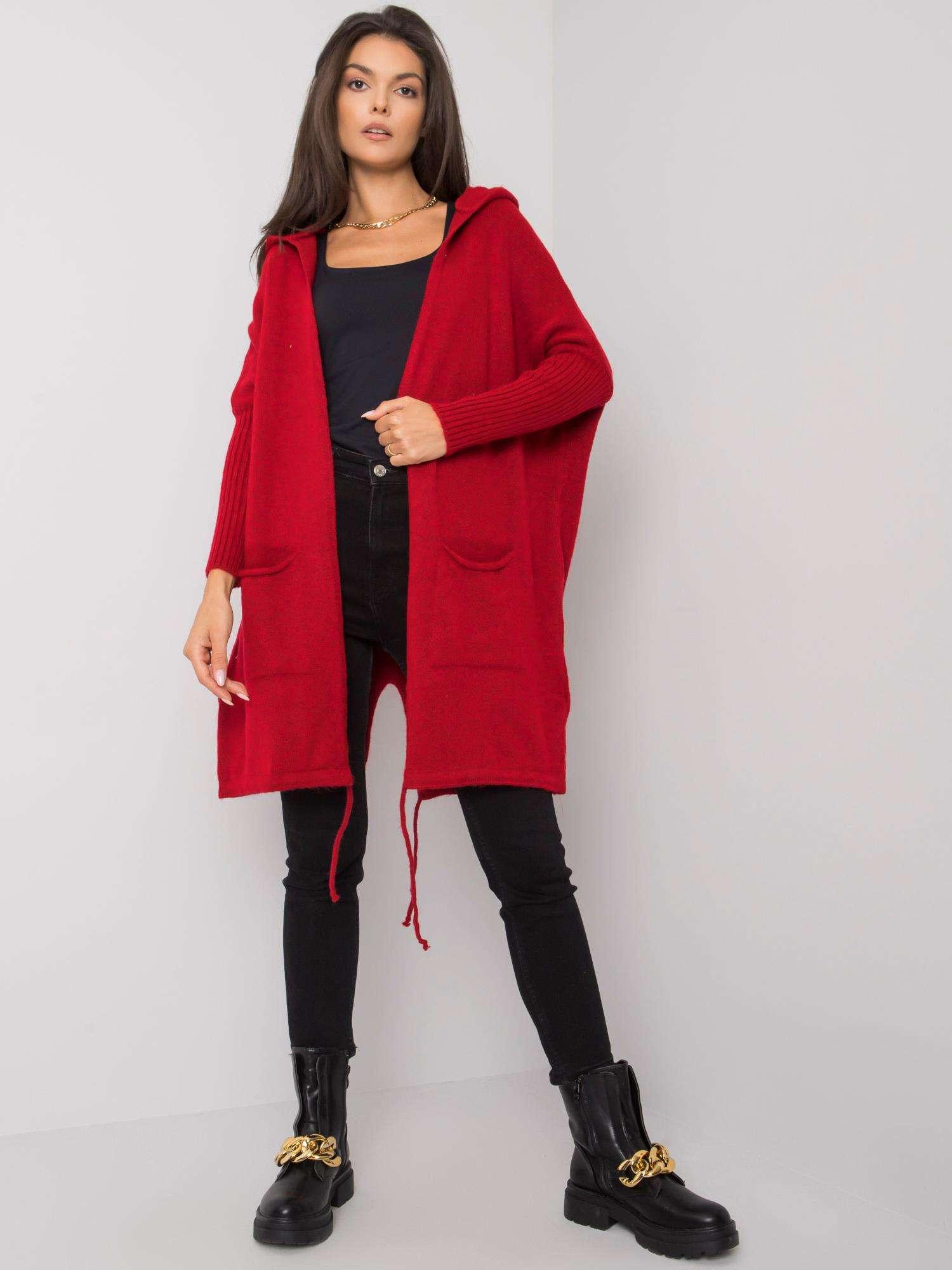 RUE PARIS Bordó svetr s kapucí