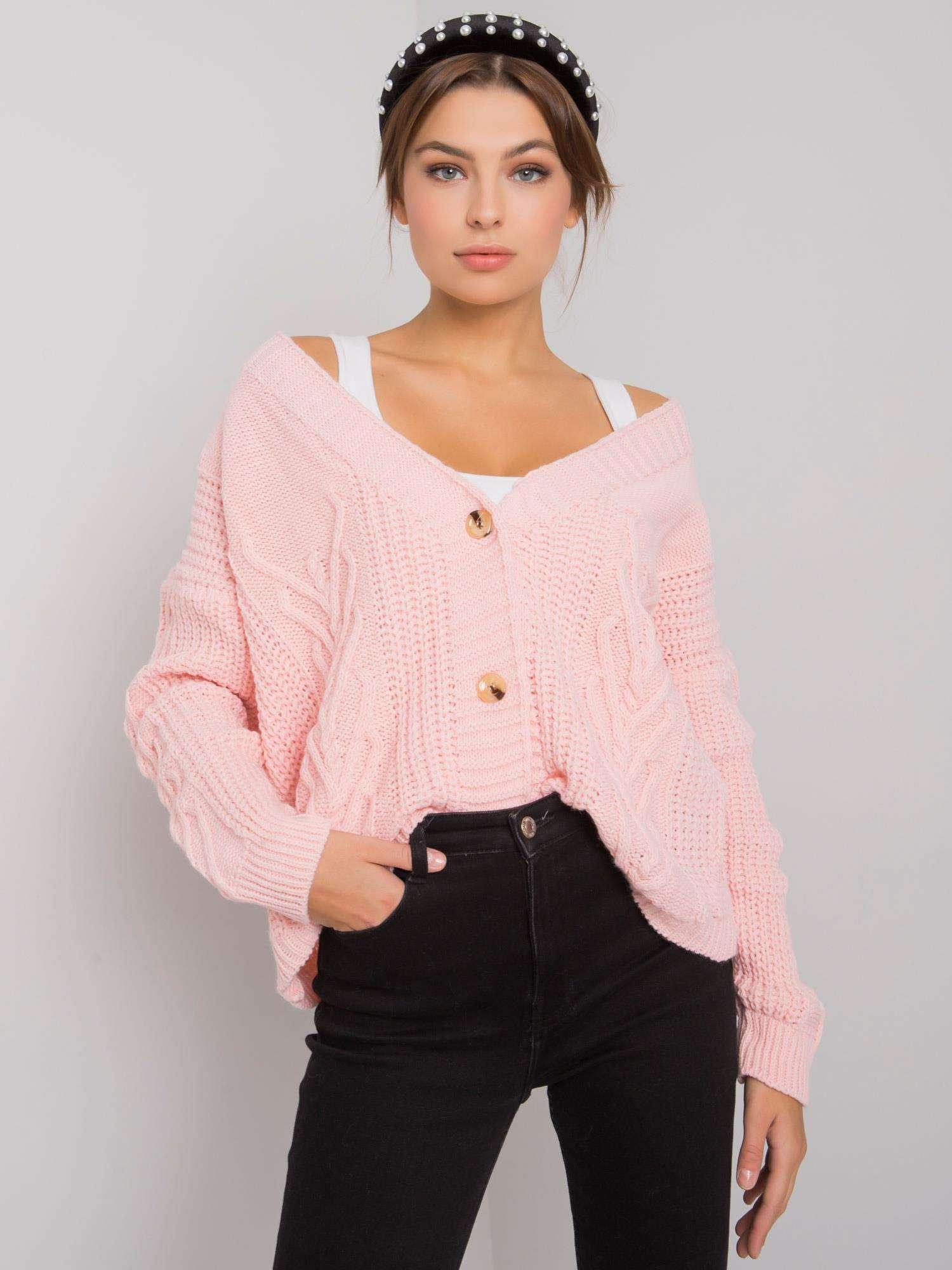 OCH BELLA Světle růžový oversize svetr
