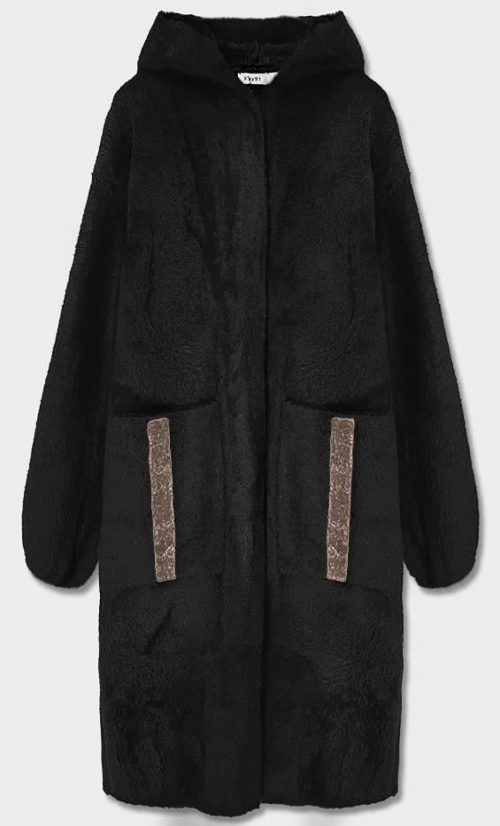 Černý přehoz přes oblečení s kapucí á la alpaka (B3005)