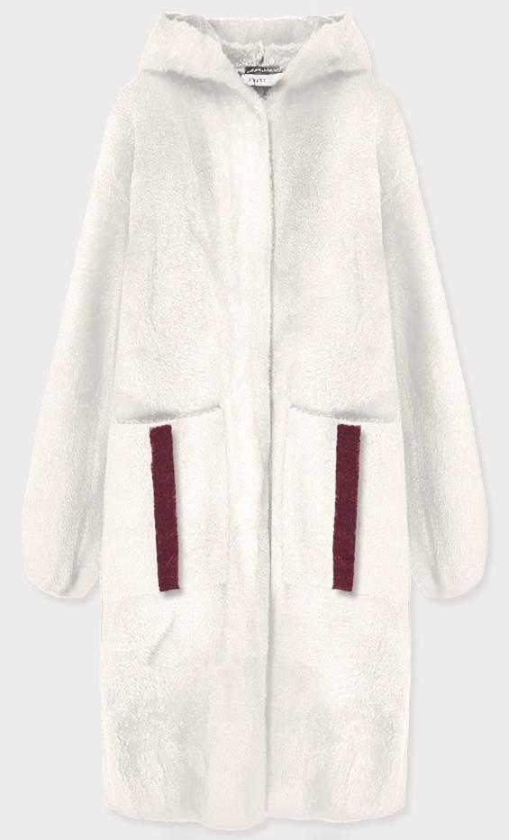 Bílý přehoz přes oblečení s kapucí á la alpaka (B3005)