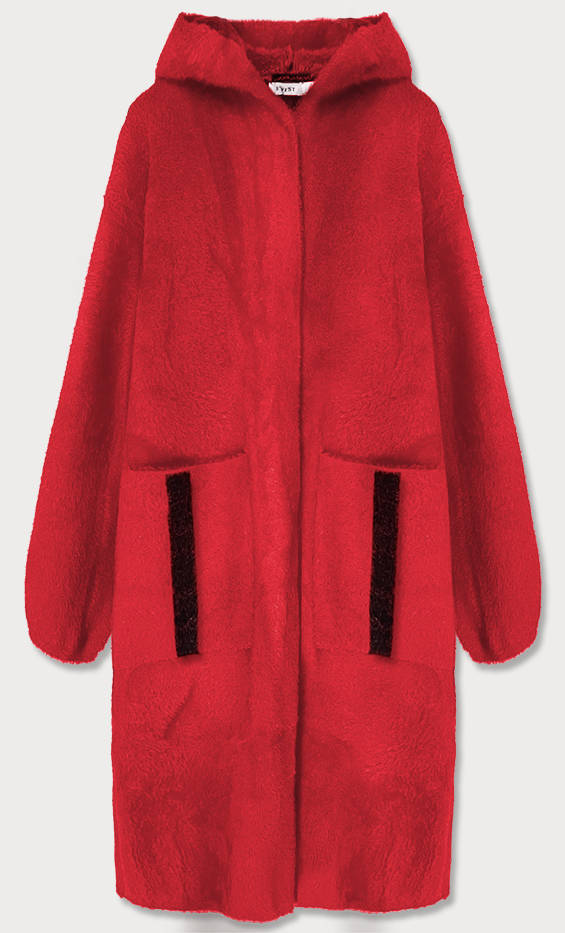 Červený přehoz přes oblečení s kapucí á la alpaka (B3005)