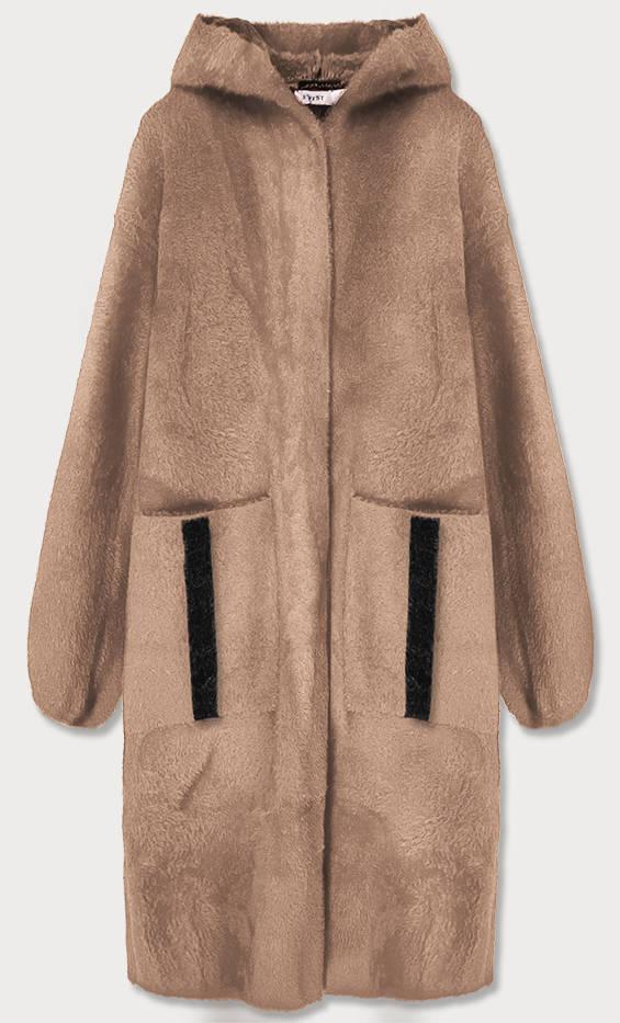 Béžový přehoz přes oblečení s kapucí á la alpaka (B3005)
