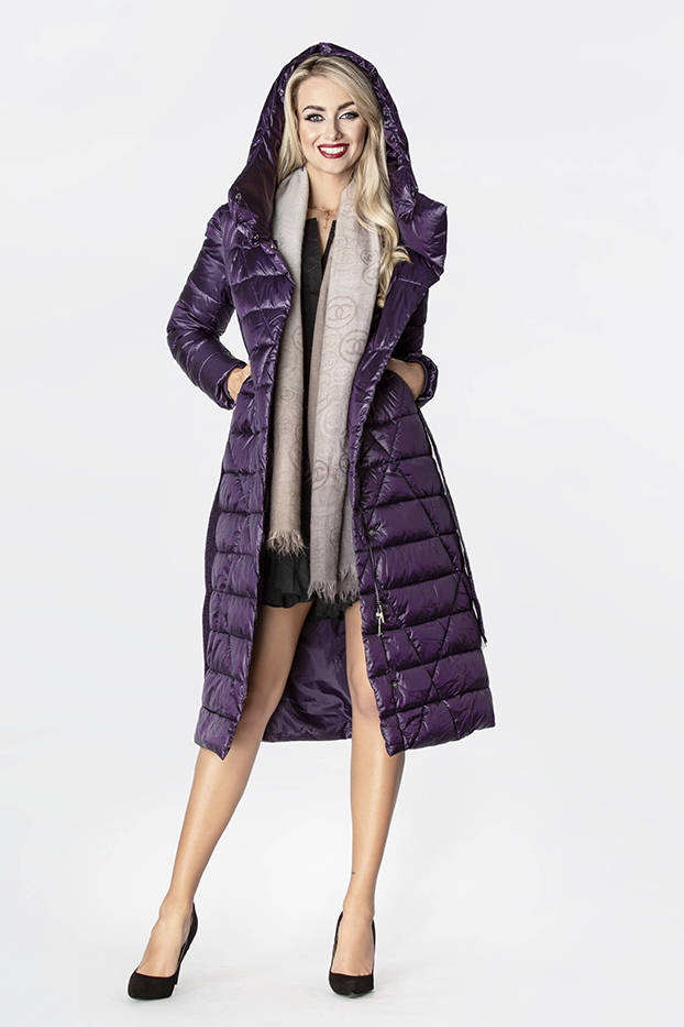 Fialový dámský prošívaný kabát (J9-069)