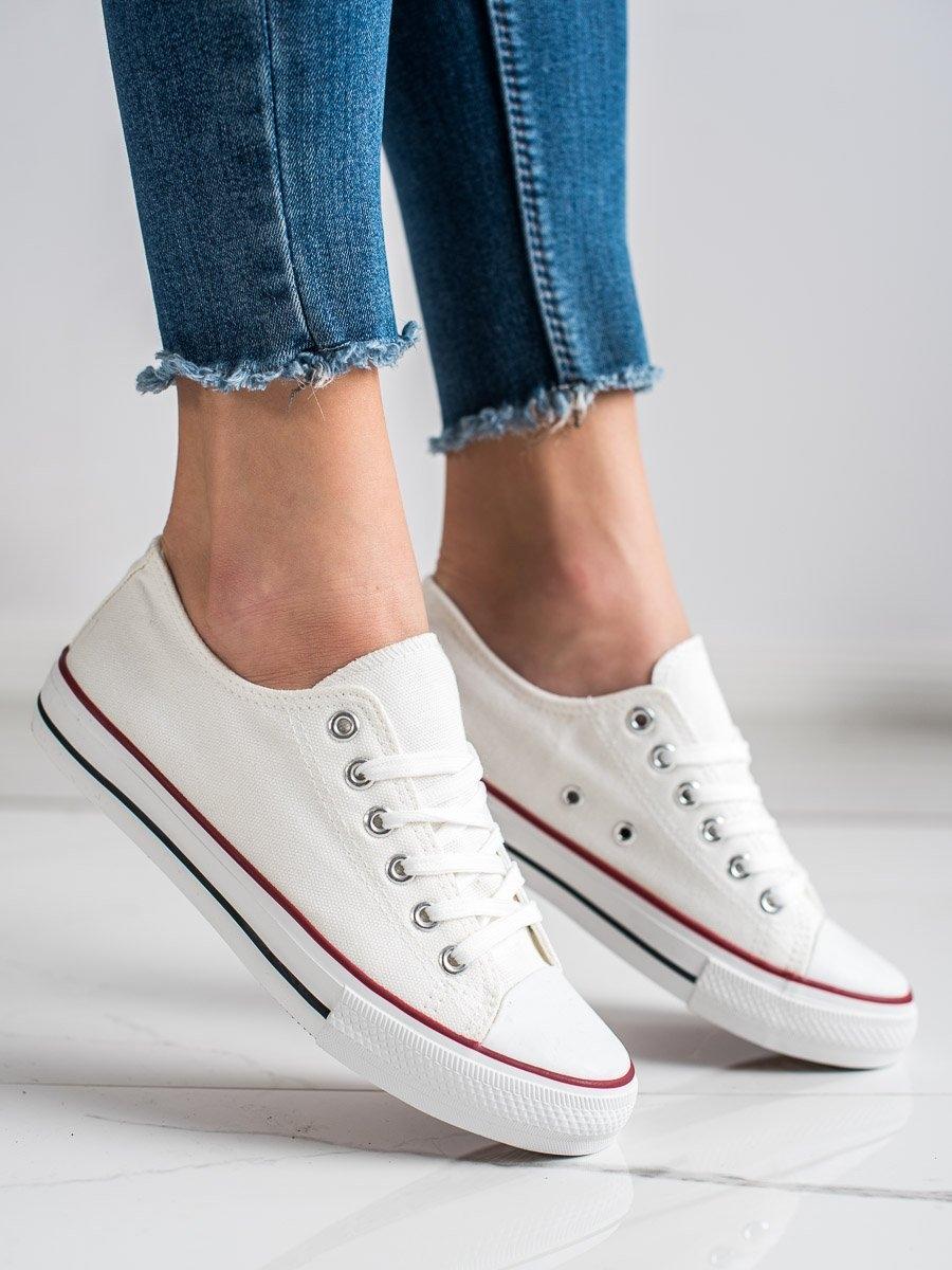 Komfortní  tenisky bílé dámské bez podpatku
