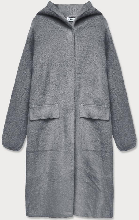 Šedý přehoz přes oblečení á la vlna s kapucí (B3006)
