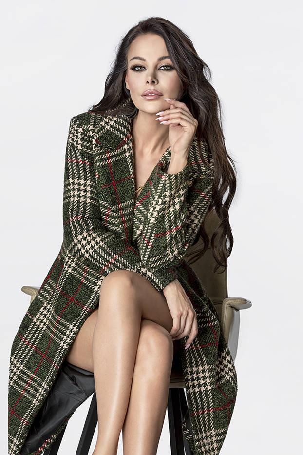 Zeleno-béžový dámský károvaný kabát (OMDL-011)