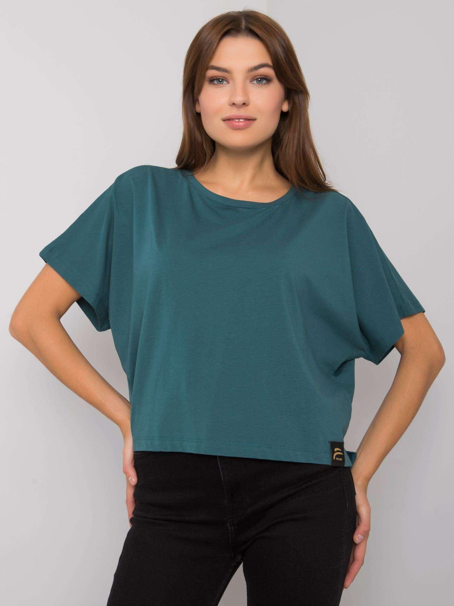 FOR FITNESS Tmavě zelené bavlněné tričko