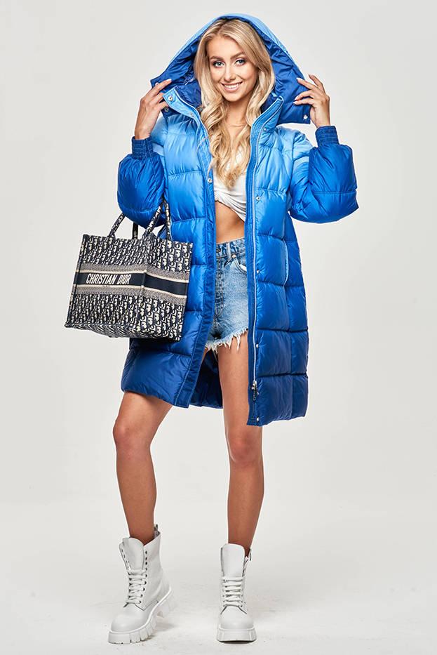 Světle modrá dámská zimní ombre bunda (J9-070)