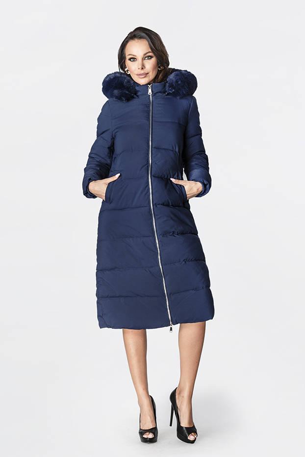 Tmavě modrá dámská zimní péřová bunda (OMDL-010)