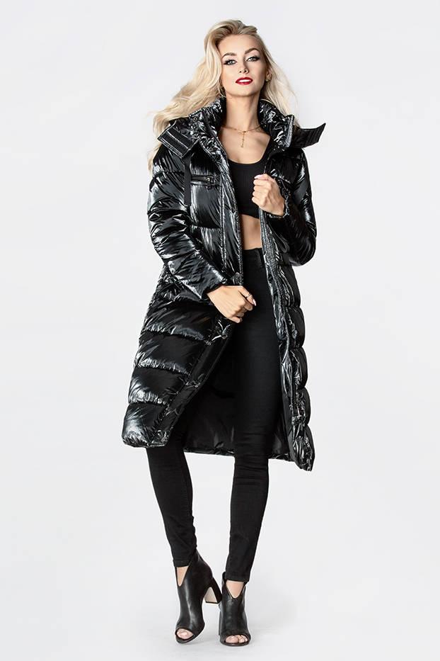 Černá dámská lesklá péřová bunda (OMDL-020)