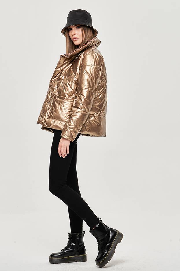 Zlatá dámská bunda s leskem (OMDL-023)