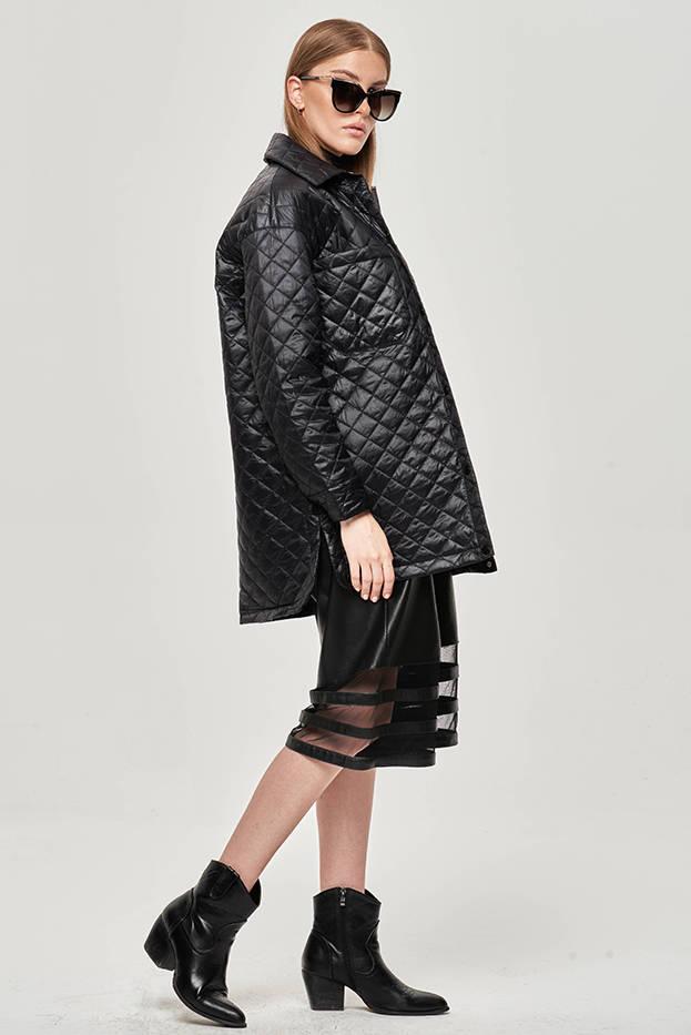 Tenká černá dámská bunda s límcem (JIN225)
