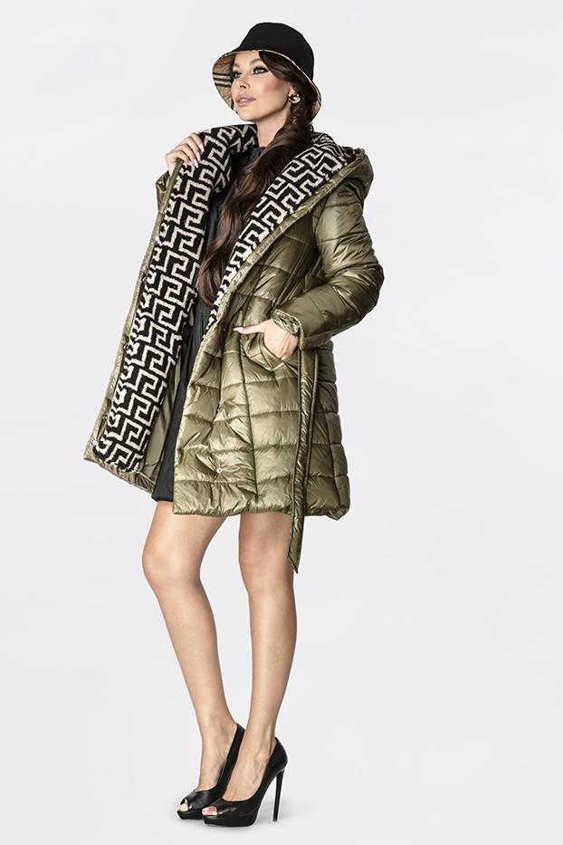 Lehká dámská zimní bunda v khaki barvě se zateplenou kapucí (OMDL-019)