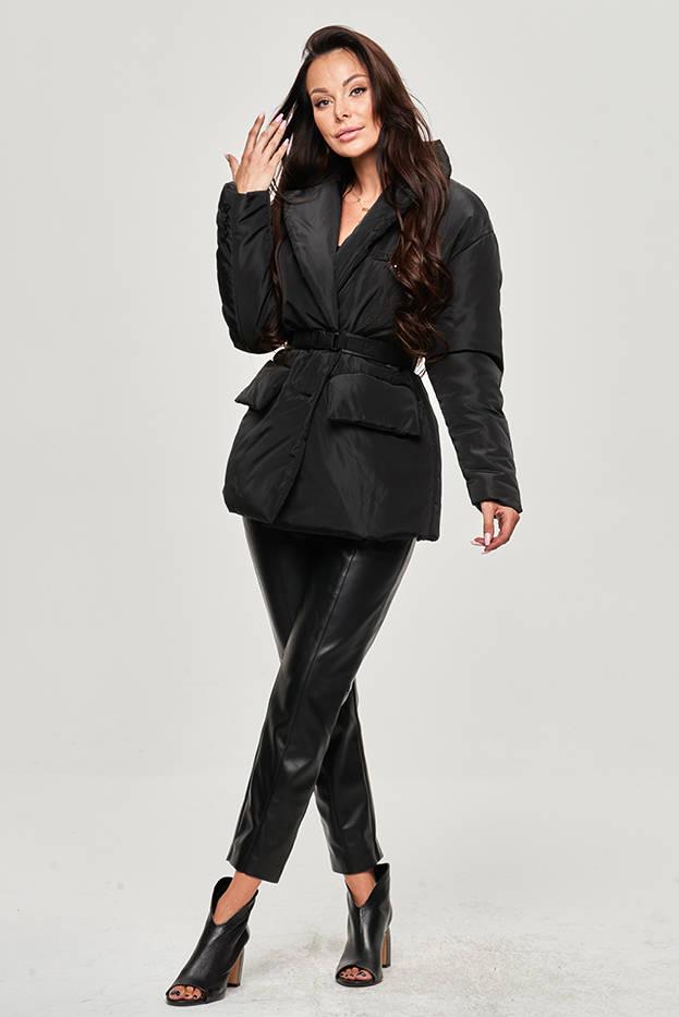 Lehká černá dámská bunda s páskem (OMDL013)