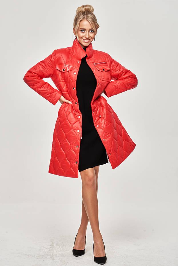 Červená dámská prošívaná bunda se stojáčkem (20201130)
