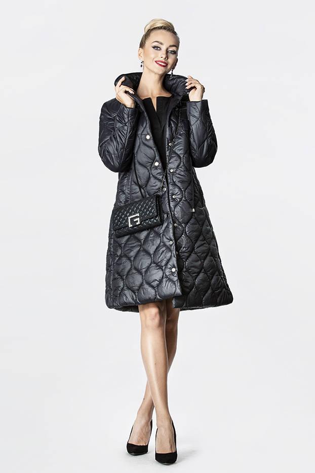 Černá dámská prošívaná bunda se stojáčkem (20201130)