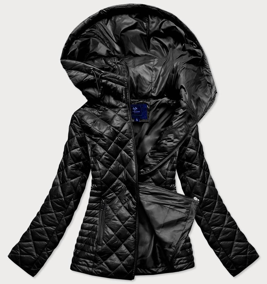 Černá prošívaná dámská bunda s kapucí (LY-01)
