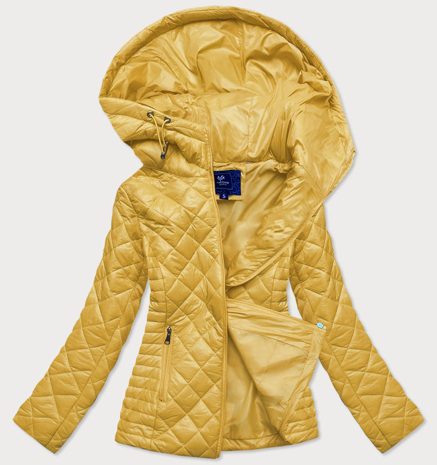 Žlutá prošívaná dámská bunda s kapucí (LY-01)