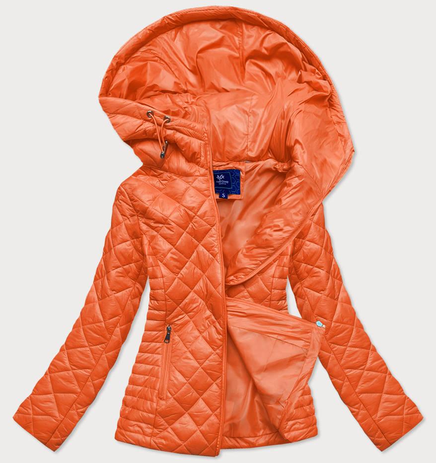 Oranžová prošívaná dámská bunda s kapucí (LY-01)