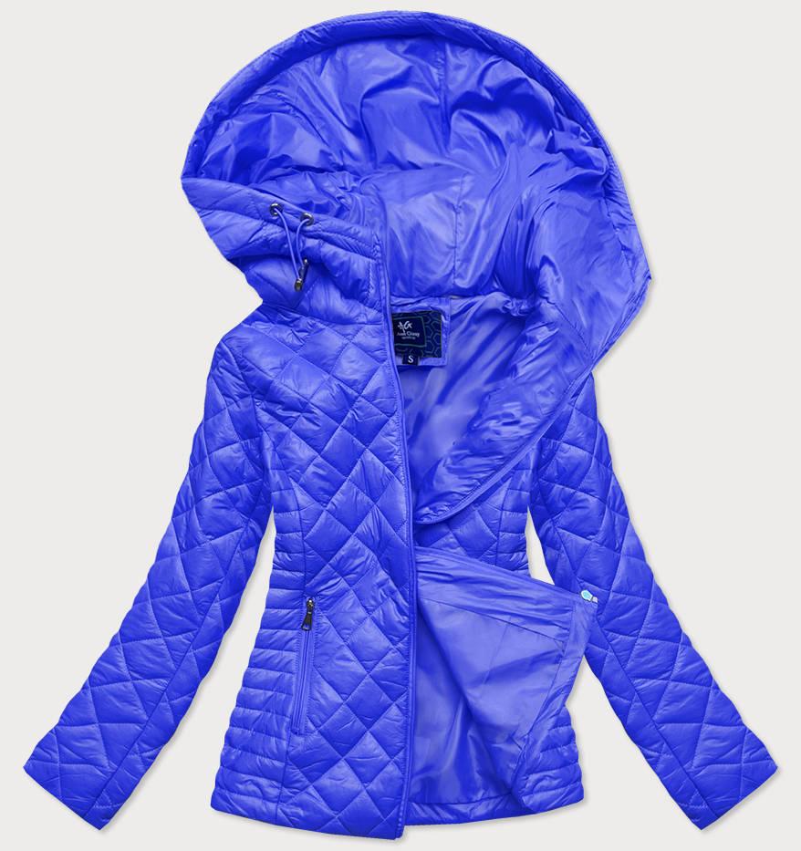 Světle modrá prošívaná dámská bunda s kapucí (LY-01)