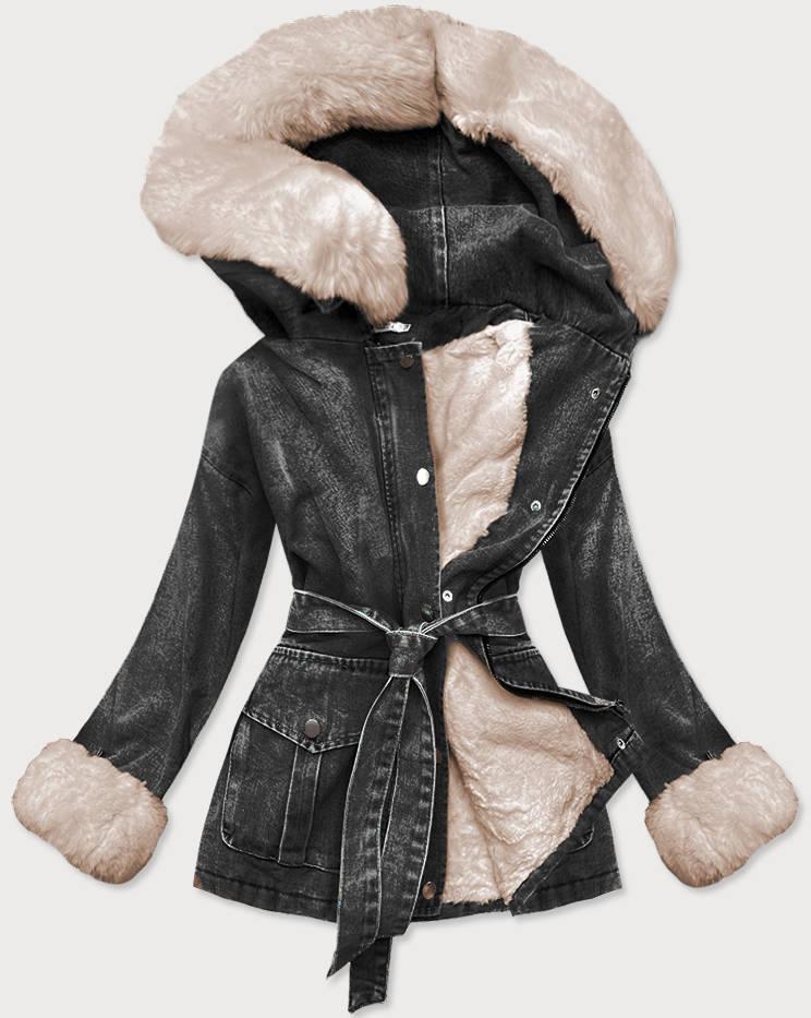 Černo-béžová dámská džínová bunda s kožešinovou podšívkou (9026#)