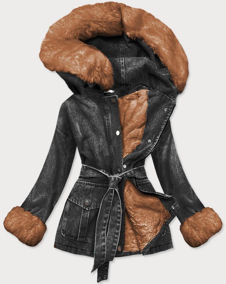 Černo-karamelová dámská džínová bunda s kožešinovou podšívkou (9026#)