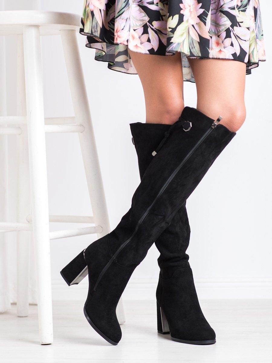 Luxusní dámské černé  kozačky na širokém podpatku
