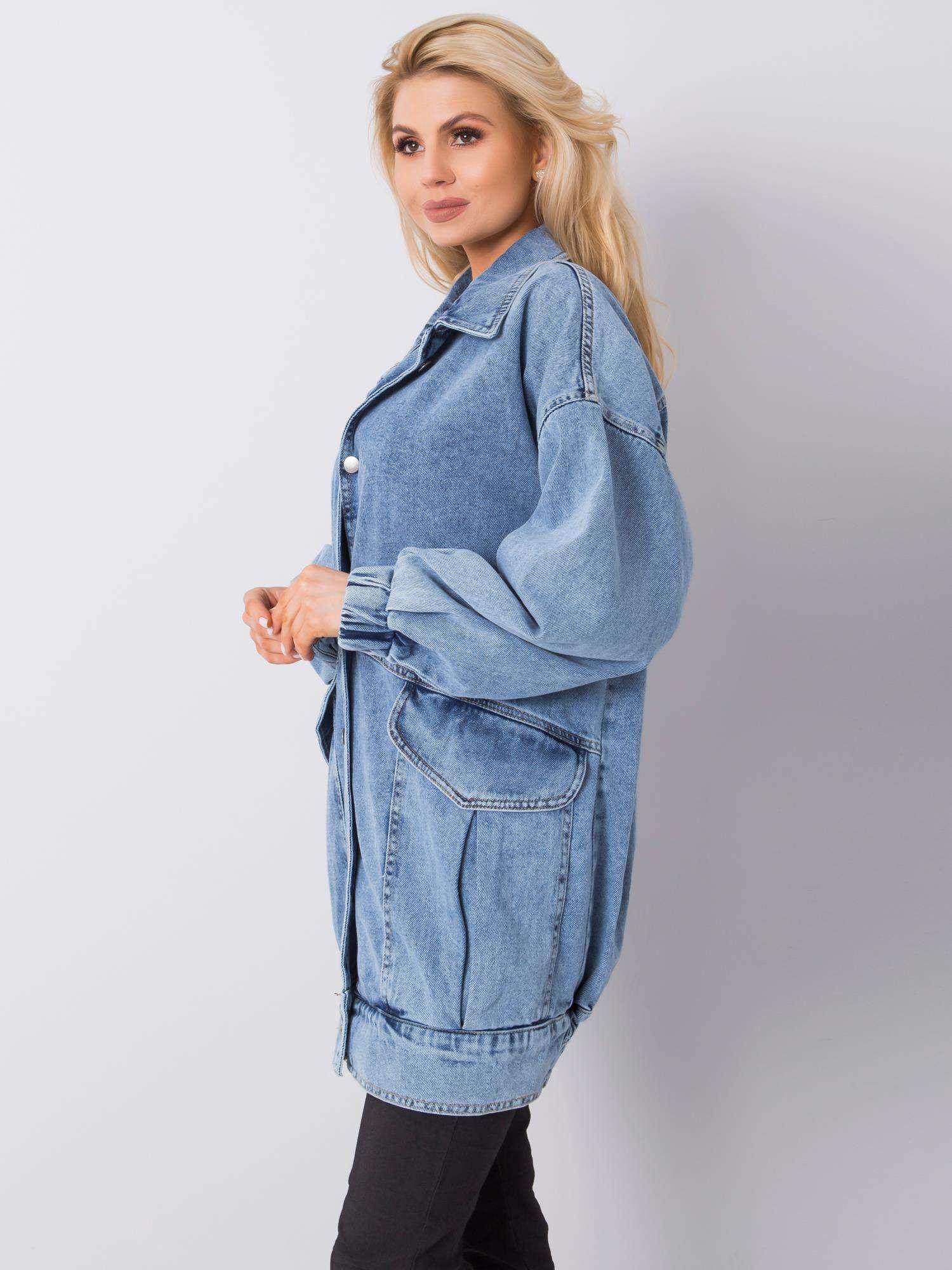 Modrá dlouhá džínová bunda - RUE PARIS
