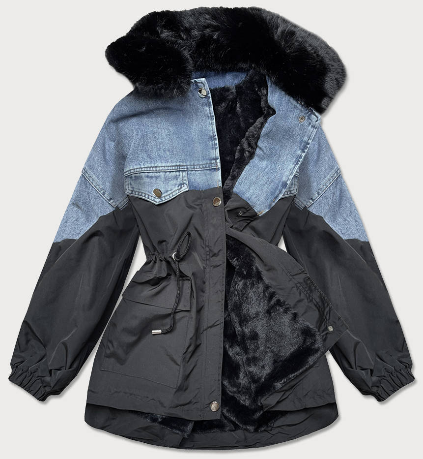 Černá dámská džínová bunda s kožešinou (BR9589-5001)
