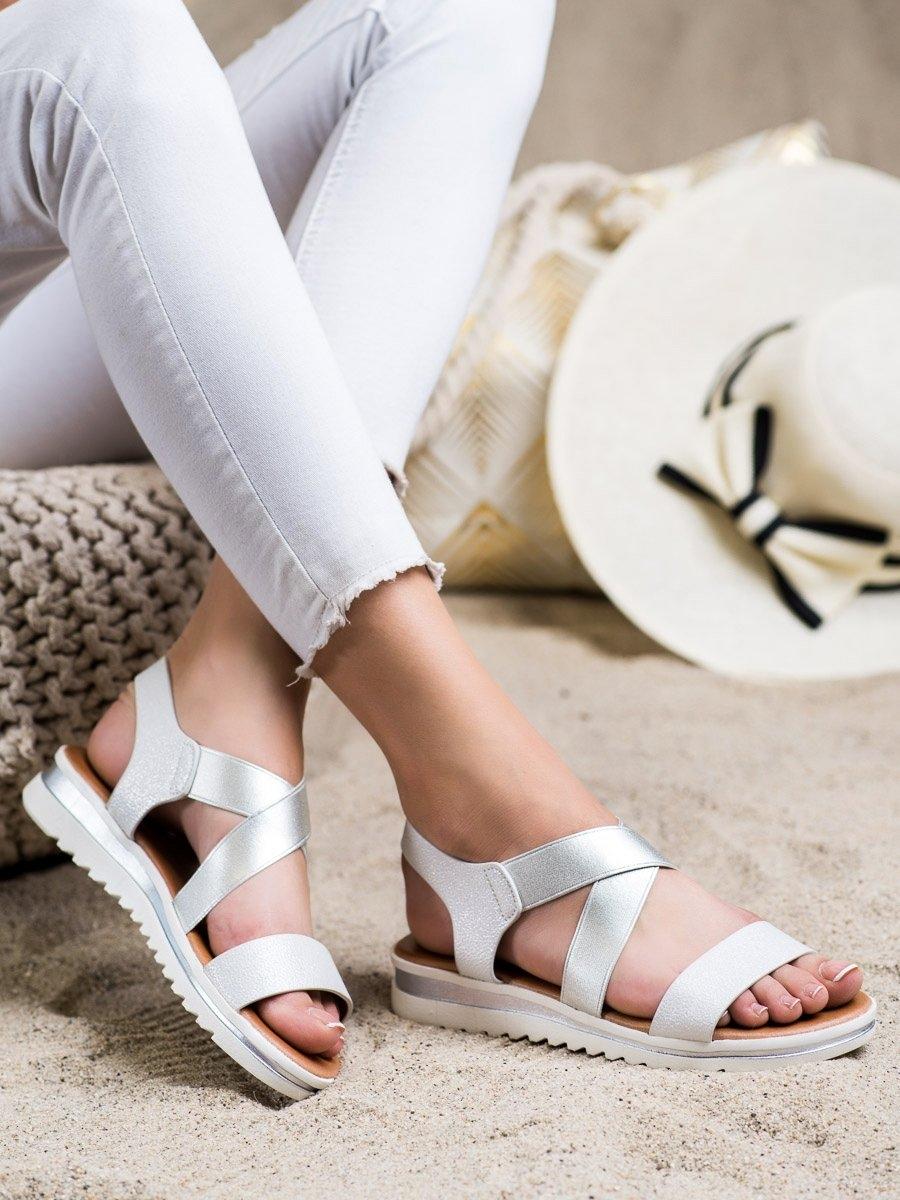 Stylové  sandály šedo-stříbrné dámské bez podpatku
